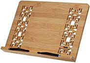 حامل كتب قابل للطي مصنوع من خشب البامبو من ديكديل بتصميم كلاسيكي مجوف قابل للتعديل بـ 4 زوايا يستخدم لقراءة كت