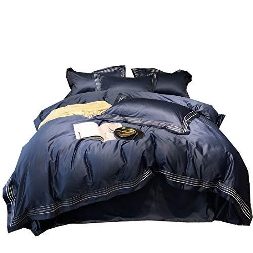 Klerokoh Neues hochwertiges Besticktes langes Baumwollbett-Set (Color : Blue, Size : Queen)