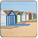 Denby 10 x 10 cm Cork Backed Beach Hut Coaster Set, Set of 6, Multi-Colour
