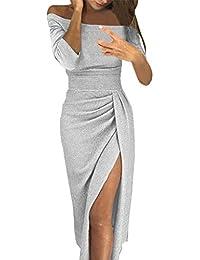 4ff87776796b8f Zolimx Kleid Damen Bodycon Hüftkragen Pailletten Kleid mit offenem Kragen  Hellen Kristallkleid Party Abendkleid