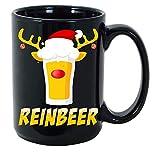 WYYCLD Cute Reinbeer Reindeer Rudolph Beer Class Christmas Drinking Lover Drinker Men Women Xmas Party Decor Gift Black Ceramic Coffee Tea Mug Cup