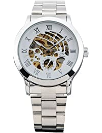 AMPM24 Mechanical Analog White Dial Stainless Skeleton Mens Wrist Watch New PMW026
