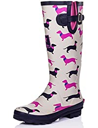 3750bc9e082 Spylovebuy Karlie Flat Festival Wellies Wellington Knee High Rain Boots