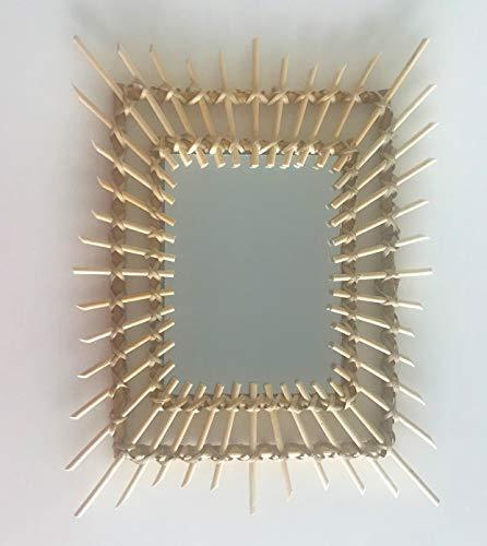 BYP Accessories Espejo bambú Pared Cuadrado