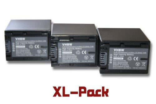 3 x vhbw Set baterías 2200mAh para videocámara Sony DCR-DVD850E, HDR-CX520E, HDR-CX110E, DCR-SR37E, HDR-CX520VE, HDR-CX115E, DCR-SR38E