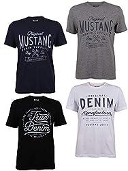 MUSTANG 4er Pack Herren T-Shirt mit Frontprint und Rundhalsausschnitt - Motivmix, Größe:XL, Farbe:Farbmix (P9)