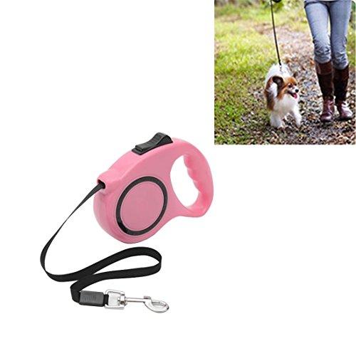 KYS Pet Leash Länge: 5m, Pet Retractable Leash Reflexive streckende Pet Walk Leads (Farbe : Rosa) (Leash Retractable Pink)
