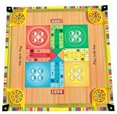 Chhabra Toys 2-in-1 Big Carrom Board with Ludo Game for Kids with Carrom Powder Also Included Size 17 × 17 inches