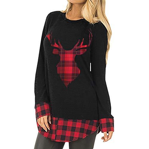 Fröhliche Weihnachten!!! LSAltd Frauen Weihnachten Tops Damen Weihnachten Elch Print Bluse Mode Plaid Print Pullover Weihnachten Kostüm Großes Geschenk Plus Größe S-2XL