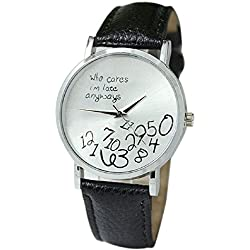 Mallom® New Arrival New Women Leather Watch Who Cares I am Late Anyway Letter Watches Black
