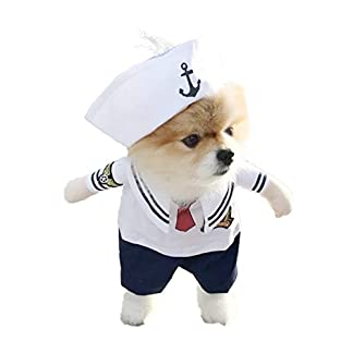 DELIFUR Dog Sailor Costume Navy Suit with Hat Halloween Christmas Pet Costumes for Puppy and Cat(XS) 41DVWnk4SRL