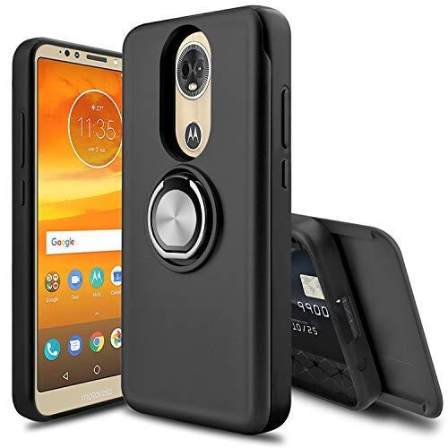 Leaptech Moto E5 Plus Hülle, Moto E5 Supra Hülle, [Spiegel] [Slider Card Slot] 360 Grad drehbarer Ringhalter stoßfest Schutzhülle für Motorola Moto E Plus (5. Generation), schwarz