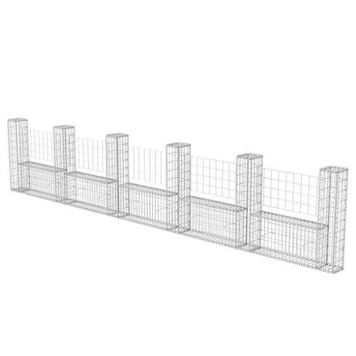 vidaXL Panier de Gabion en Forme d'U Acier 570x20x100 cm Clôture de Jardin