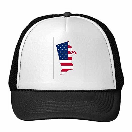 DIYthinker Die Vereinigten Staaten von Amerika USA Rhode Island Karte Amerikanische Flagge Flagge Form Baseballmütze Baseballmütze Nylon-Mesh-Kühlen Hut justierbare Kappe Kinder