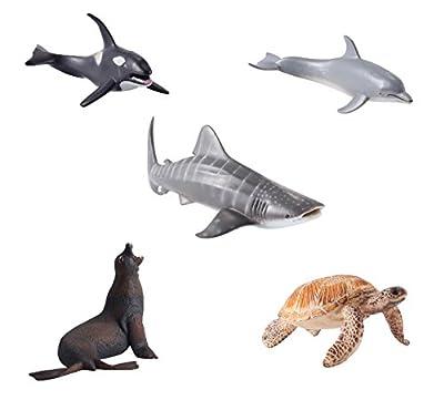 """YIJIAOYUN 5 pièces Grand Océan Figure Animale Moule en Plastique 6 """"Jouet éducatif créature préscolaire pour Les Enfants (orques, Lions de mer, Tortues de mer, Dauphins, Requin Baleine)"""