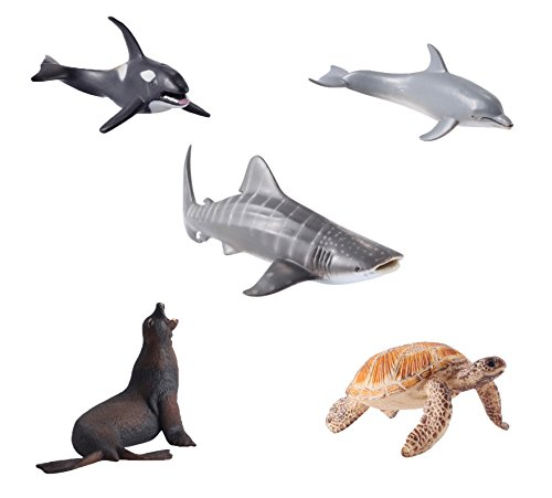 YIJIAOYUN 5 Pieces Figures Large Animals sea ocean Plastic Statues 6 Inches Preschool Educational Toy for children (Killer Whales, Sea Lions, Sea Turtles, Dolphins, Whale Shark)