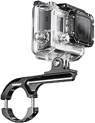 Mantona Fahrradhalterung Maxi Aluminium für GoPro, Mount Handle Bar Rohrdurchmesser 29 - 35 mm, 10,5 cm Auslegerarm, CNC Alu, schwarz, für GoPro 2, 3, 4, Session