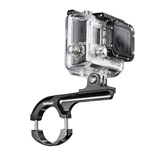 Mantona Fahrradhalterung Maxi Aluminium (geeignet für GoPro, Mount Handle Bar Rohrdurchmesser 29 - 35 mm, CNC Alu, GoPro Hero 6 5 4 3+ 3 2 1, Session und andere kompatible Action Cams) schwarz