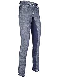 HKM PRO TEAM Jodhpur Miss Blink - Pantalón de equitación Bleu jeans/bleu foncé Talla:42