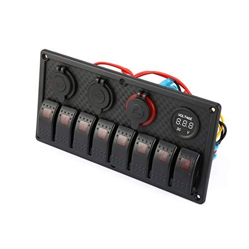 Candybarbar 8 Gang LED-Auto-Boot Rocker Switch Panel Dual USB Zigarettenanzünder-Voltmeter Auto-Auto-LED-Boot Switch Panel