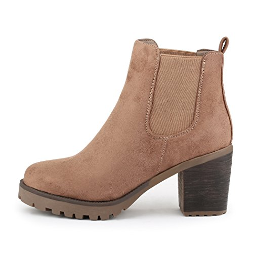 best-boots Damen Plateau Stiefelette Chelsea Boots Khaki 1172 Größe 41 (Beige Wildleder-boot)