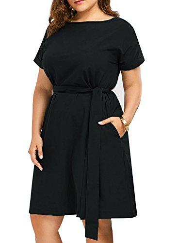 CNFIO Elegant Kleid Damen Schulterfrei Kleider Sommerkleider Ärmelose Minikleid Übergröße A-Linie Knielang Shirtkleider Plus Size mit Gürtel C-Schwarz EU44