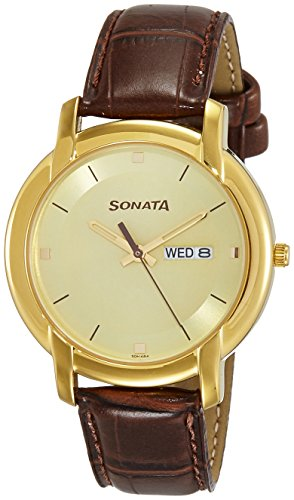 Sonata Wedding Collection Analog Champagne Dial Men's Watch – 7954YL11