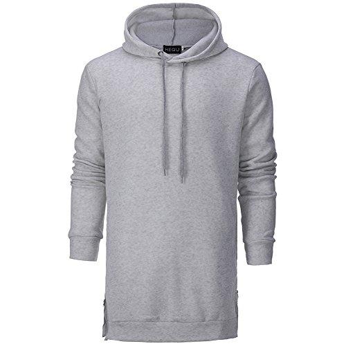 Herren Hoodies Sport T-Shirt Athletisches Training Workout Langarm Sweatshirt mit Reißverschluss Schwarz Grau (Hoodie, Reißverschluss über Gesicht)