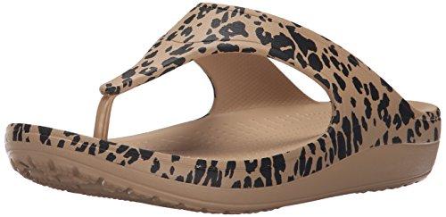 crocs Damen Sloane Leopard Flip Women Sandalen, Oro Gold (Gold)