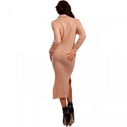 Damen Strickkleid mit Rollkragen Pencil Dress Salmon