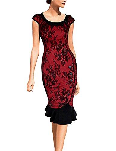 Minetom Damen Elegant Sommer Abendkleid 1950er Ballkleid Einreiher Fishtail Rundhals Business Kleid Party Dress Rot Spitze