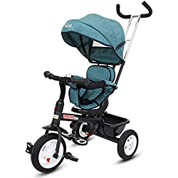 Baybee Mario Sportz - The Stylish Plug and Play Baby Tricycle with Canopy and Parent Control with Reversible Seat ( (Now with Rubber Wheels) ( Blue )