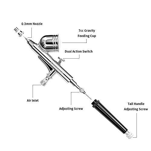 Gocheer mini kit aerografo con compresor profesional accion dual aerografo 0.2 0.3 0.5 mm boquillas para and agujas