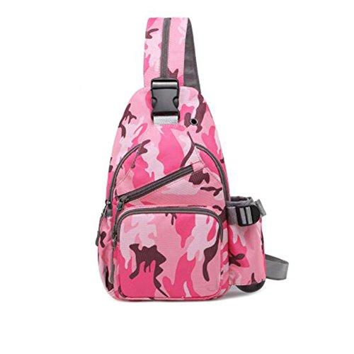 LF Multifunktionale Brusttasche koreanische Version der Umhängetasche Lässige Sport Messenger Bag Brusttasche Kleiner Rucksack (Farbe : Pink Camouflage) Pink Camouflage Messenger Bag