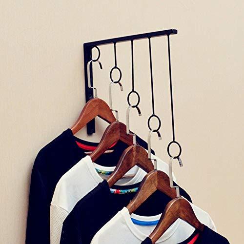 Wandhalterung Kleiderständer hängen Eisen Metall Kostüm steht mit 5 Ringen Design Display Regal für Bekleidungsgeschäft, L30 * H30Cm,Schwarz-2 - Display Und Kostüm