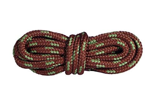 Mountval Schnürsenkel Hochwertige Schnürbänder für Outdoor- und Wanderschuhe | Extrem stark | Hergestellt in Europa | 1 Paar (120 cm - 48 inch - 6 bis 7 Schnürösenpaare / 7650 - Braun mit Grün)