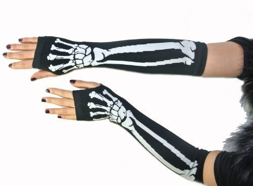 armstulpen-ohne-finger-lang-skelettdesign-schwarz