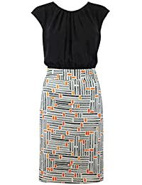 Ladies Black White Pencil Graphic Pencil Skirt Work Smart 2 in 1 Dress