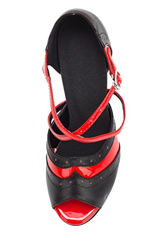 TDA - Peep-Toe donna 8.5cm Heel Black Red