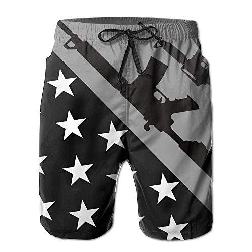 Desing shop Gun USA Flag Black Men's Summer Beach Quick-Dry Surf Swim Trunks Boardshorts Cargo Pants Large (Izod-uniformen)