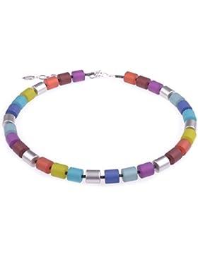 """Damenkette """"Bärbel"""" aus Polaris- und lackierten Acrylzylindern. Handgefertigt von Adi-Modeschmuck in Berlin."""