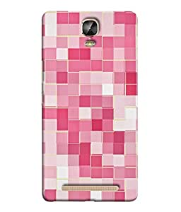 Gionee Marathon M5 Plus Back Cover Pink Colour Checked Sqaures Design From FUSON