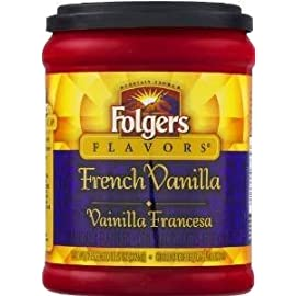 Fresh Taste of Folgers Coffee, French Vanilla Flavored Ground Coffee, Mellow & Smooth Flavor, 11.5 Oz Canister – (1 pk) by Folgers