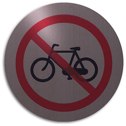 XAPTOVi - Türschild / Türschilder aus Rostfrei Edelstahl - Keine Fahrräder, Fahrrad abstellen verboten | Ø 82 mm | Rund | 5 Jahre Garantie | Metallic Silber | Piktogramm | Schild | Hinweisschild (Fahrrad Schild)