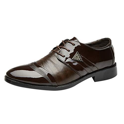 MDenker Herren echten Lederschuhe Retro-Elegante Schuhe Falten helle Oberfläche Lederschuhe scharfe Schuhe Business Schuhe Offiziellen Herren Kleidung passend spezielle Schuhe