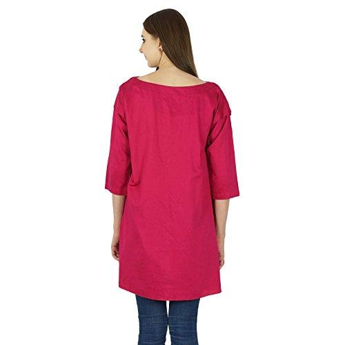 Phagun Rayon Kurti Designer Bollywood Kurta Indischen Frauen Lässig Top Tunika-Kleid Magenta