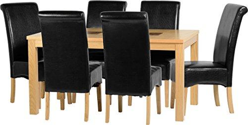 Seconique Wexford 149,9cm Esstisch-Set mit 6G10schwarz Stühle–Eiche Furnier/Walnuss Inlay/schwarz Kunstleder