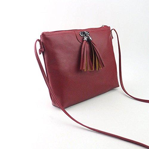 Xjp Damen Modische Umhängetasche Crossbody Tasche mit Quasten Rot