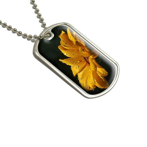 Gelb Daisy mit Wasser Tropfen Militärische Erkennungsmarke Gepäck Schlüsselanhänger