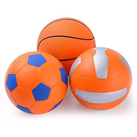 Chastep Mini Ball Set Pack of 3-Include 4 Inch Foam Volleyball,Basketball and Soccer